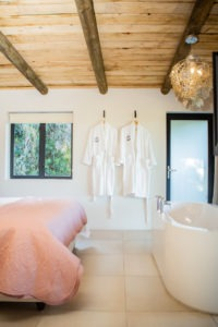 Bedroom: bathroom with gowns