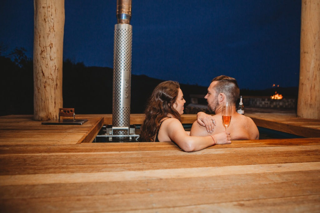B&J in hot tub