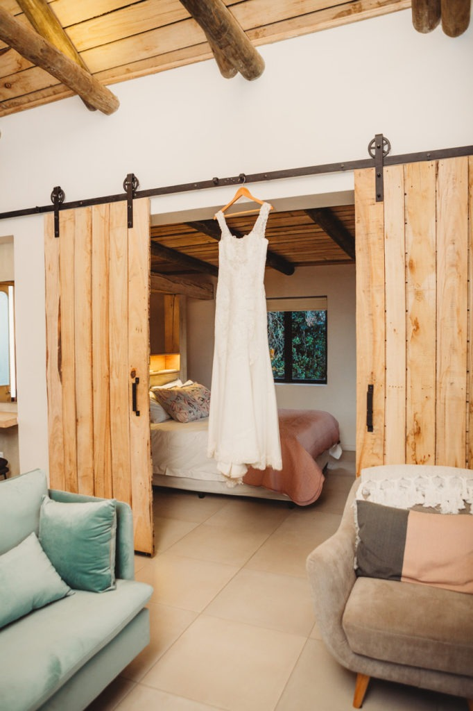 Dress hanging in door