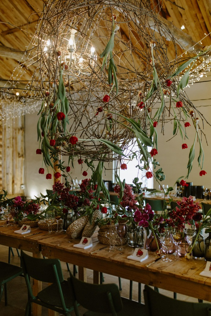 Table flowers with hanging ceiling flowers