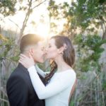Bride kissing grooms nose